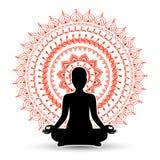 Het zwarte silhouet van vrouw in meditatie stelt vector illustratie
