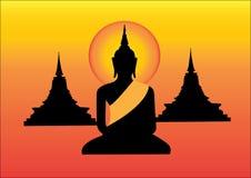Het zwarte standbeeld van Boedha en pagode gele achtergrond Royalty-vrije Stock Foto