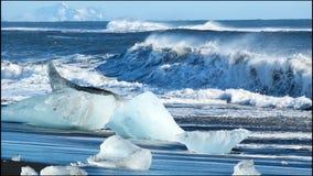 Het zwarte strand van de ijsgletsjer stock footage