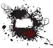 Het Zwarte Teken van Splotched met Rode Rozen Stock Afbeelding