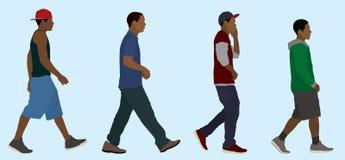 Het zwarte Tienerjongens Lopen vector illustratie