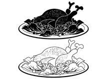 Het het zwarte van de het vleesschotel van Turkije overzicht en Silhouet stock illustratie