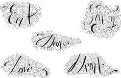 Het zwarte van letters voorzien met woordendans, Drank, eet, houdt van, zingt Verfraaid met hand getrokken lijnen, wervelingen en Stock Foto's