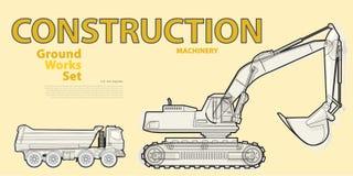 Het zwarte wit schetste grote reeks de machinesvoertuigen van de grondwerken Stock Foto