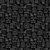 Het Zwarte Wit van het huizenpatroon royalty-vrije illustratie