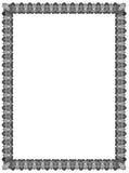 Het Zwarte Witte Abstracte Ornament van de kaderbatik voor Grens Stock Foto