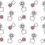 Het zwarte witte en rode madeliefje bloeit in een van het potten naadloze patroon illustratie als achtergrond royalty-vrije illustratie