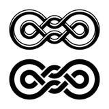 Het zwarte witte symbool van de eenheidsknoop Stock Fotografie