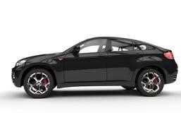 Het zwarte Zijaanzicht van SUV Royalty-vrije Stock Afbeeldingen