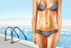 Het zwembad l van de vrouw dichtbij Stock Foto