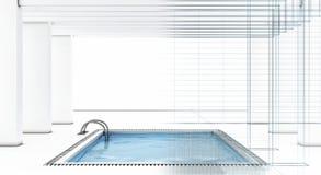 Het zwembad van de luxe met draad-kader Stock Afbeeldingen