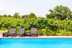 Het zwembad van ligstoelen dichtbij royalty-vrije stock afbeeldingen