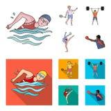 Het zwemmen, badminton, gewichtheffen, artistieke gymnastiek De olympische pictogrammen van de sport vastgestelde inzameling in b stock illustratie