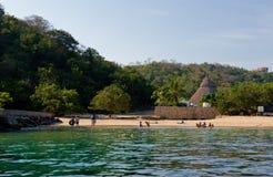 Het zwemmen gebied en strand Stock Afbeelding