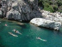 Het zwemmen in het Middellandse-Zeegebied Royalty-vrije Stock Foto