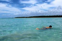 Het zwemmen in kristallijne duidelijke wateren in Brazilië Royalty-vrije Stock Afbeeldingen