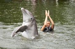 Het zwemmen met dolfijn Stock Afbeeldingen