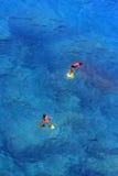 Het zwemmen in turkooise wateren stock afbeeldingen