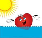 Het zwemmen van het hart Stock Foto's