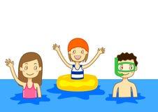 Het zwemmen van jonge geitjes Royalty-vrije Stock Foto