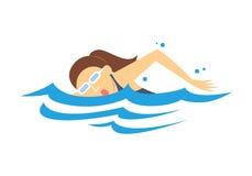 Het Zwemmen van vrouwen, vector Stock Afbeelding
