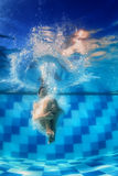 Het zwemmende meisje springt diep onderaan onderwater in de blauwe pool stock afbeelding