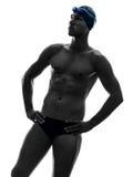 Het zwemmende silhouet van de jonge mensenzwemmer Royalty-vrije Stock Fotografie