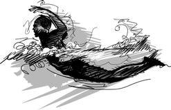 Het zwemmende Silhouet van de Schets Royalty-vrije Stock Afbeelding