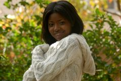 HetAmerikaanse vrouw glimlachen royalty-vrije stock afbeelding