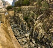 Hetch Hetchy Yosemite National Park. Hetch Hetchy Dam at Yosemite National Park with panorama. rock. geological. cement Royalty Free Stock Photo