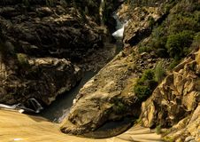 Hetch Hetchy Yosemite National Park. Hetch Hetchy Dam at Yosemite National Park with panorama. rock. geological. cement. stream Stock Photos