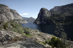 Hetch Hetchy Reservoir. The manmade Hetch Hetchy Reservoir in Yosemite National Park provides water to the city of San Francisco through a gravity-fed pipe Royalty Free Stock Photos