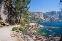 Hetch Hetchy Valley. Hiking trail by Hetch Hetchy Reservoir, Yosemite National Park Royalty Free Stock Photo