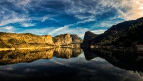 Hetch Hetchy Yosemite National Park. Hetch Hetchy Dam at Yosemite National Park with cloudy sky. panorama Royalty Free Stock Photos