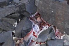 Hete aangestoken steenkool Stock Foto's