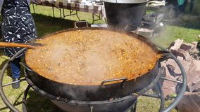 Hete bigos in een steelpan stock footage