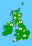 Hete Britse weerkaart Stock Fotografie