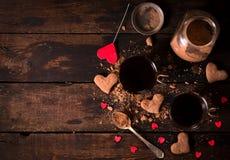 Hete cacao en koekjes Stock Foto