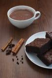 Hete cacao met brownies Royalty-vrije Stock Afbeelding