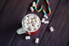 Hete Cacao met Heemst en Suikergoedriet Royalty-vrije Stock Foto