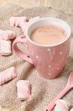 Hete cacaodrank met heemst Stock Fotografie