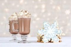 Hete choclate en koekjes - de winter behandelt Stock Afbeeldingen
