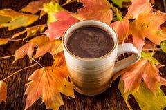 Hete Chocolade in de herfst Royalty-vrije Stock Afbeeldingen