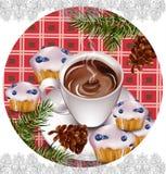 Hete chocolade en muffins op uitstekende Vector als achtergrond Pourringsdrank Franse stijldecors Royalty-vrije Stock Foto's