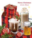 Hete chocolade, latte en giftdozen De achtergronden van de de wintervakantie Royalty-vrije Stock Fotografie