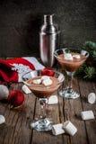 Hete Chocolade Martini met heemst Stock Foto's