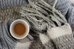 Hete chocolade met gebreide sjaal in voorredacteur van de winternotitie: Stock Fotografie