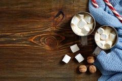 Hete chocolade met heemst Mok hete koffie met heemst, rood suikergoedriet op de houten achtergrond Nieuw jaar Royalty-vrije Stock Foto