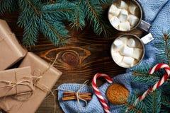 Hete chocolade met heemst Mok hete koffie met heemst, rood suikergoedriet op de houten achtergrond Nieuw jaar Stock Afbeeldingen
