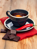 Hete chocolade met Spaanse peperpeper Stock Foto's